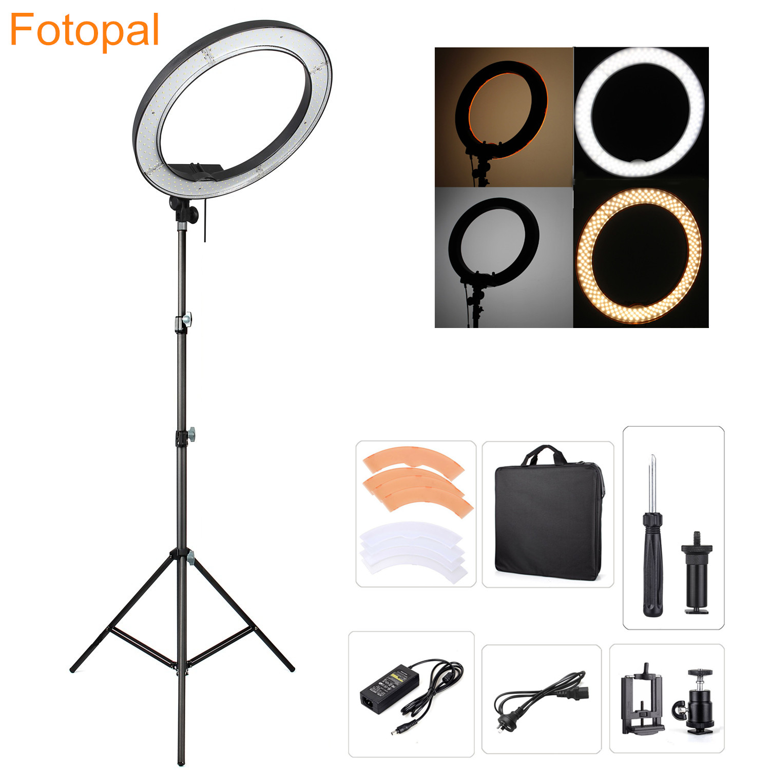 Fotopal Led Ring Light For Video Shoot Camera Phone Lighting With Stand Studio Photography Selfie Makeup Photo Circle Lamp-in Photographic Lighting from Consumer Electronics
