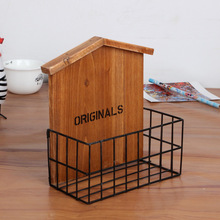 Vintage Retro Wooden Shelf Home Furnishing Iron With wood features storage rack,living room / balcony wall decorations Hot