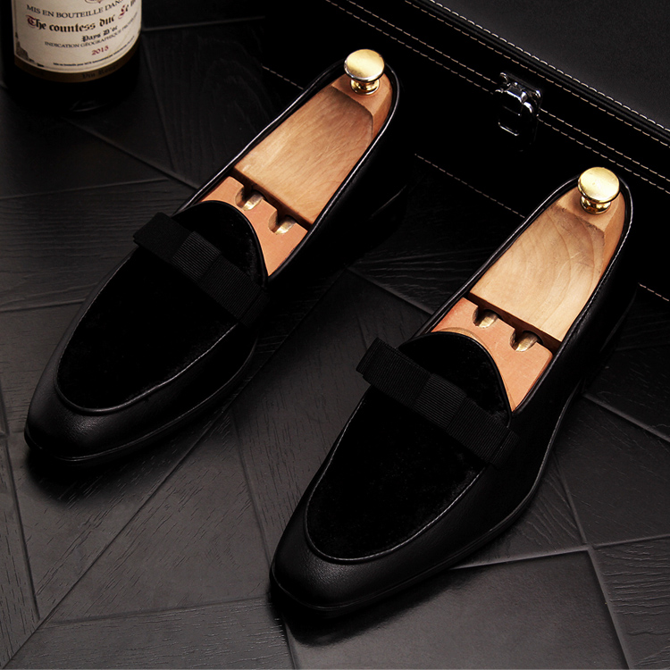 2019 Men Brand Dress Loafers Shoes Bow Tie Slippers Gentlemen Wedding Flats Casual Slip on Black+Red Suede Flats Shoes 20