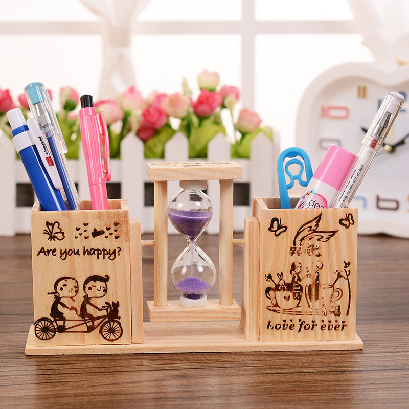 Kawaii 1PC Double pen holders ornaments with Hourglass wooden desktop stationery pen insert Send gifts to friend teachers supply