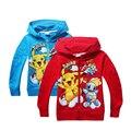Invierno sudadera de Algodón de Dibujos Animados POKEMON IR Pikachu Niños niñas ropa larga sudaderas con capucha con cremallera abrigo