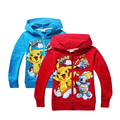 Winter sweatshirt Cotton Cartoon POKEMON GO Pikachu Kids boys girls clothes long sleeve hoodies with zipper coat