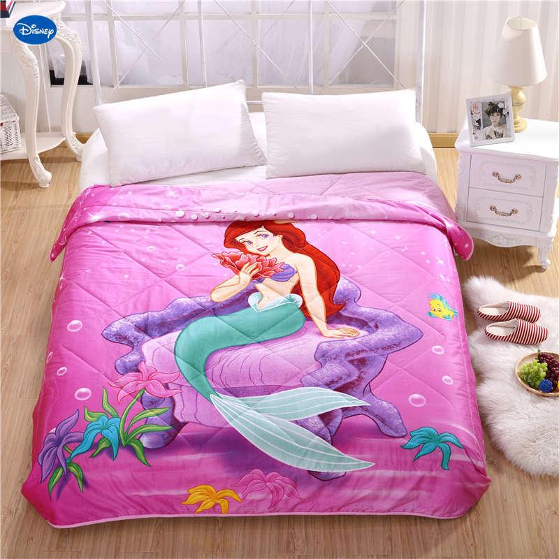 Disney tissu sirène princesse courtepointes été couette literie coton lit couverture 3D imprime dessin animé chambre décor filles enfants