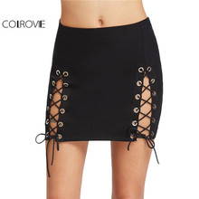 COLROVIE Double Slit Pencil Skirt Vintage Sexy Lace Up Women Black Club Mini Skirts 2017 Ladies Cut Out Slim Summer Party Skirt(China)