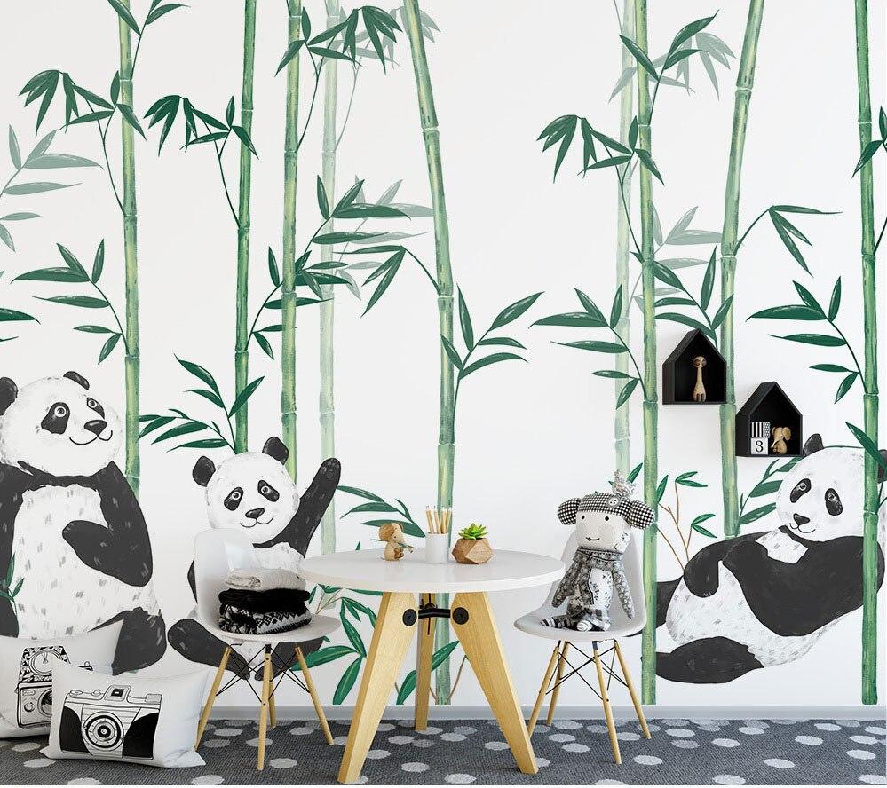 Hand-paint Chinese Cute Panda Bamboo 3d Cartoon Murals Wallpaper for Child Baby Room 3d Wall Mural 3d Cartoon Wall paper shinehome sunflower bloom retro wallpaper for 3d rooms walls wallpapers for 3 d living room home wall paper murals mural roll