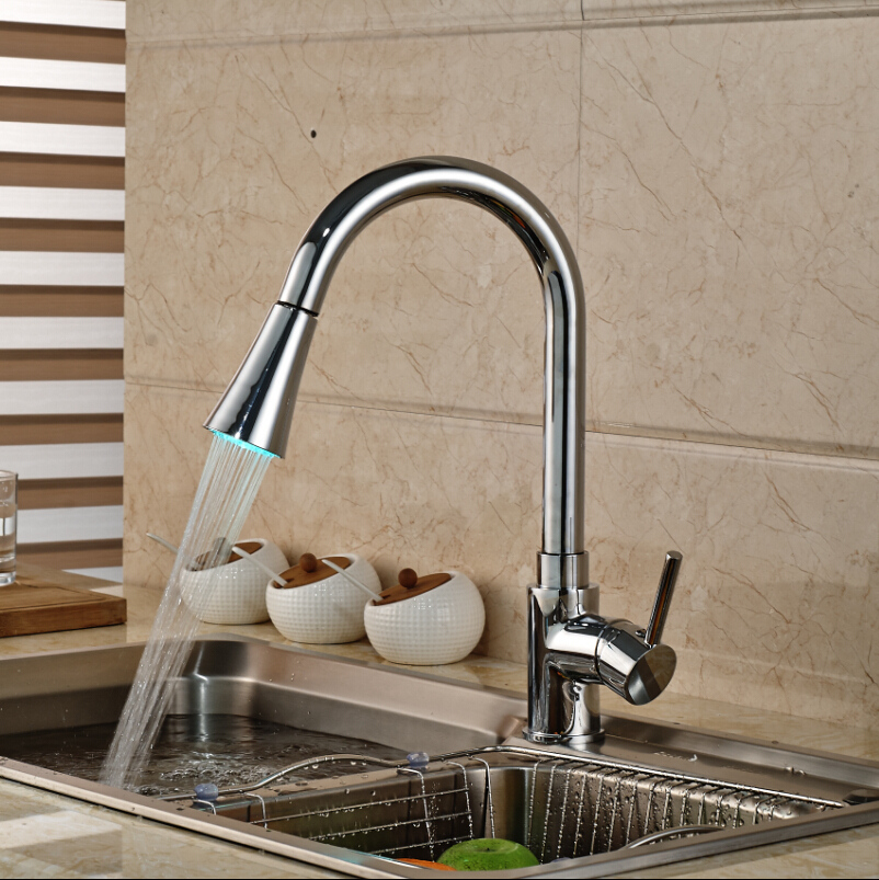 LED Light Deck Mount Single Handle Pull Out Sprayer Kitchen Faucet Brass One Hole Mixer Tap with Hot and Cold Water classic pull out kitchen mixer tap of single handle single hole kitchen faucet with hot cold solid brass kitchen sink water tap