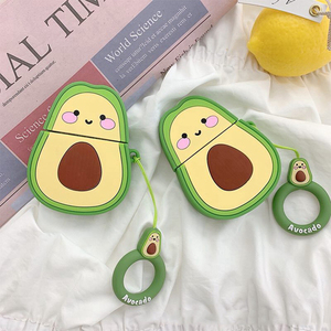 Image 1 - Cases For Apple AirPods 2 Soft TPU Earphone Cute Avocado Pattern Case For Apple Air Pods 1 Cartoon Avocado Cover Case With Hooks