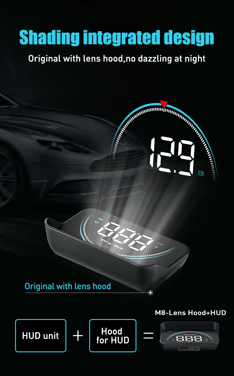 Image 2 - OBDHUD 3.5 Inch New OBD M8 Car HUD Head Up Display Temperature Overspeed RPM Warning Voltage Alarms Colorful LED Screen Displa-in Head-up Display from Automobiles & Motorcycles