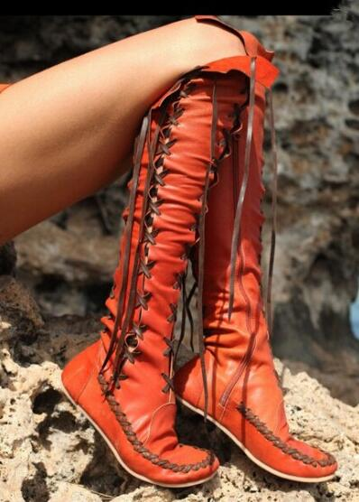 Vintage Women's Flat Tassel Over Knee High Boots Pull On Casual Punk Style Round Toe Smooth Leather Ladies Fashion Cowboy Boots цена