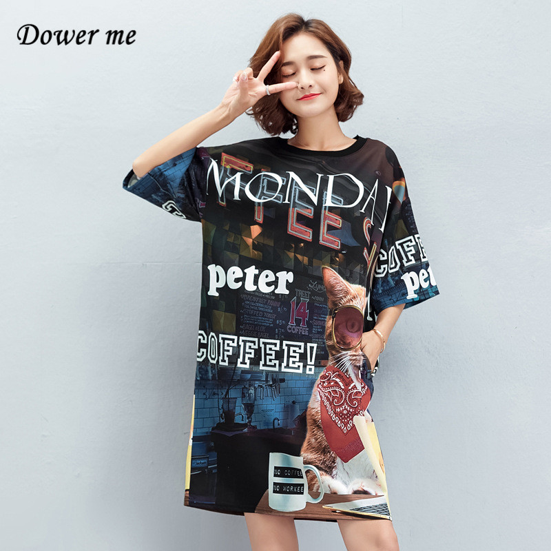Summer Fashion Cartoon Letter Women Dress Vestidos Simple O-neck T Shirt Ladies Dresses Female Loose Slim Frocks YY087
