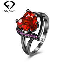 18K gold Fashion Colors Large Zircon Heart Shaped Close Rings for Women red ruby topaz diamond jewelry Fine Jewelry Black ring chic faux ruby zircon alloy ring for women