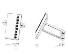 Black Austria Crystal Men's Shirt Cuff Links Jewelry Made With Swarovksi Elements Gifts For Him Office Wedding Jewellery CXK0005