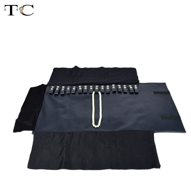 Blue Navy Leather Jewelry Storage Portable Display Cases Organizer Jewelry Travel Roll for 16 Necklaces and Pendants Bag