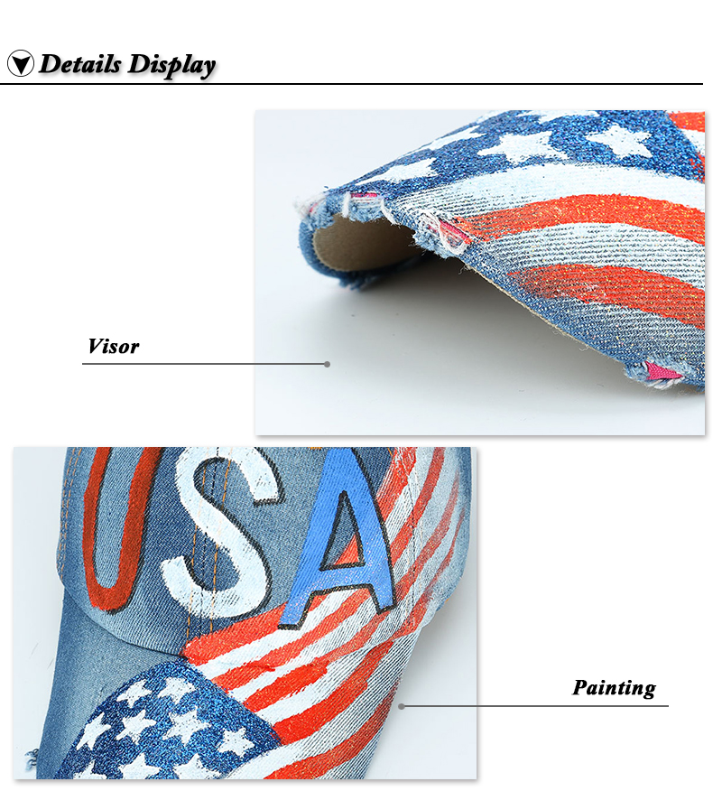 """""""USA"""" Flag Screen Print Dad Hat - Brim and Lettering Details"""