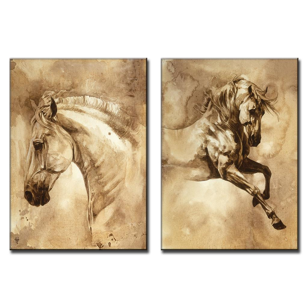 Unframed 2 Panel Modern European Oil Painting Horse Print on Canvas ...