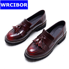 Patent Leather Oxfords Shoes Spring Vintage Tassel Platform Brogue Shoes Woman British Style Slip On Flats DWDX288