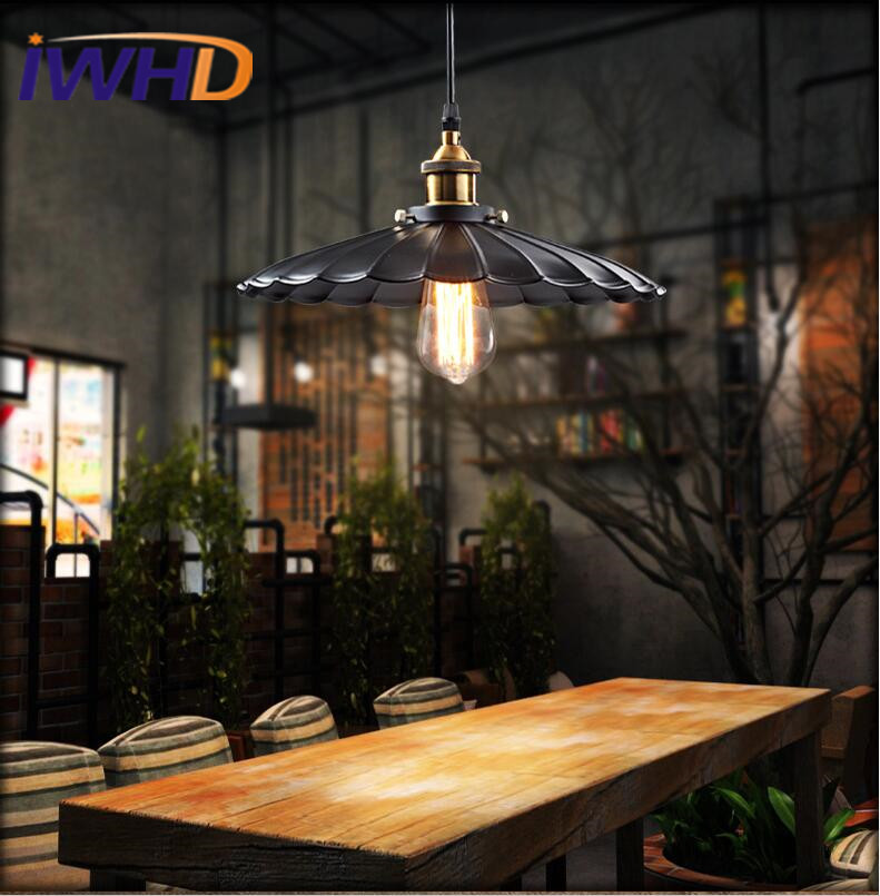 IWHD Nordiac Vintage Industrial Pendant Lamp Creative Umbrella Shape Iron Antique Pendant Lights Retro Loft Edison Blub Lamps