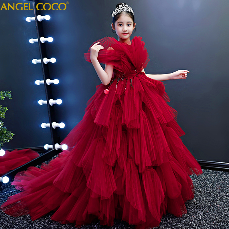 5743ff03fc5 Red Princess Ball Gown Children s Evening Dresses For Girl New Year Costume  Kids Catwalk Model Stage Fashion Christmas Clothing