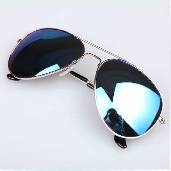 a002375285 Favorite Full Blue Mirrored Aviator Sunglasses Dark Tint Lens Silver Frame  BR08