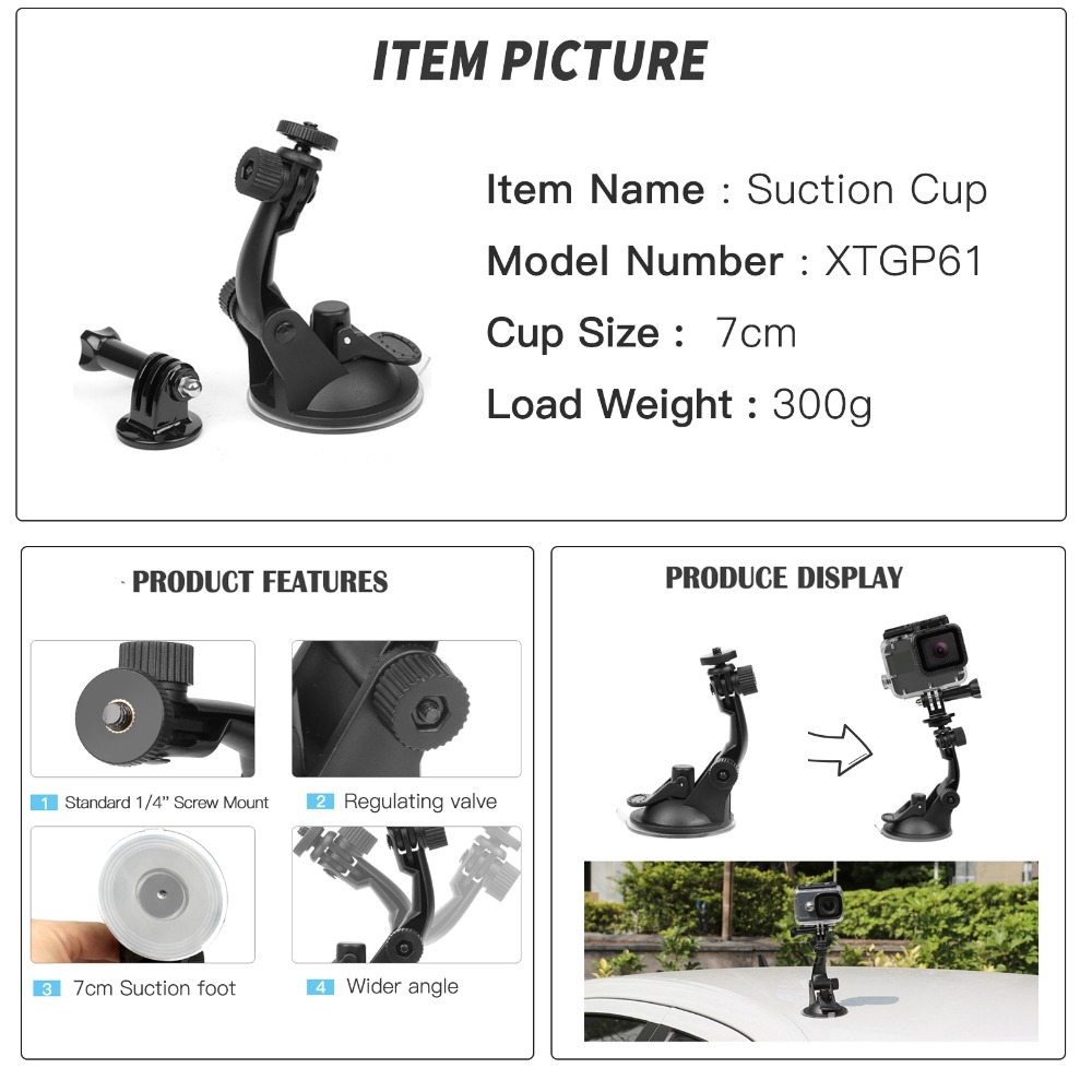 Image 3 - SHOOT Action Camera Accessory for GoPro Hero 8 7 6 5 4 Black Xiaomi Yi 4K Lite SJCAM SJ7 Eken H9 Go Pro Mount for Sony Nikon Set-in Sports Camcorder Cases from Consumer Electronics