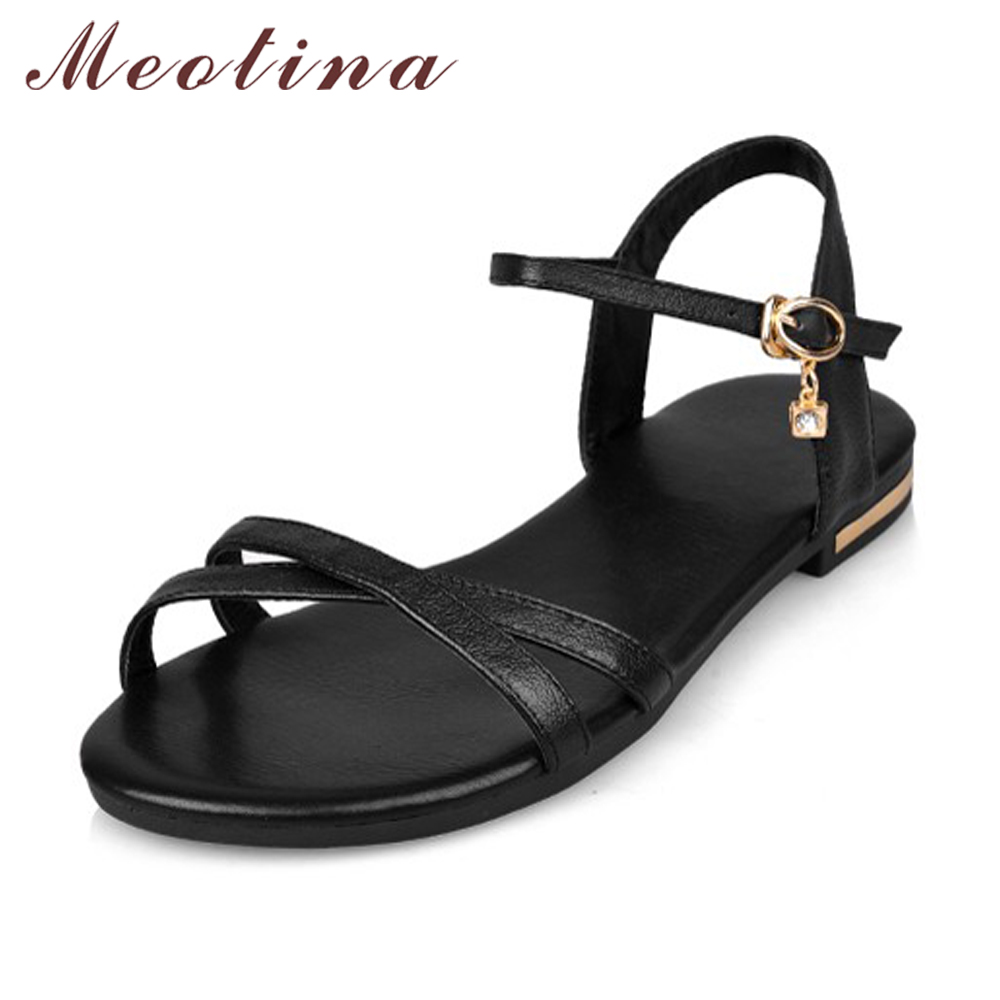 Meotina Genuine Leather Flat Sandals Shoes Women Summer Fashion Causal Ladies Shoes Buckle Real Leather Sandals Plus Size 42 43 moonmeek women sandals 2017 summer fashion genuine leather shoes woman flat flop flops flower plus size 34 43 black white gold