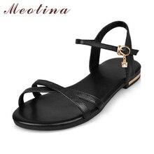 Купить с кэшбэком Meotina Genuine Leather Flat Sandals Shoes Women Summer Fashion Causal Ladies Shoes Buckle Real Leather Sandals Plus Size 42 43