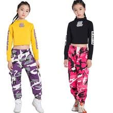 Crianças roupas de dança de palco hip hop hip hop hiphop rua dança branco tops calças camuflagem trajes de dança jazz para meninas