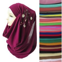 Цветочный мусульманский шифон женский хиджаб платок на голову шаль