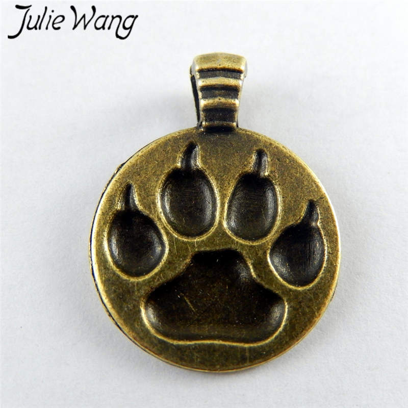 Julie Wang 10PCS Antique Bronze Alloy Bear Paw Print Charms Pendants For Jewelry Makings Necklace Earring Findings Accessory