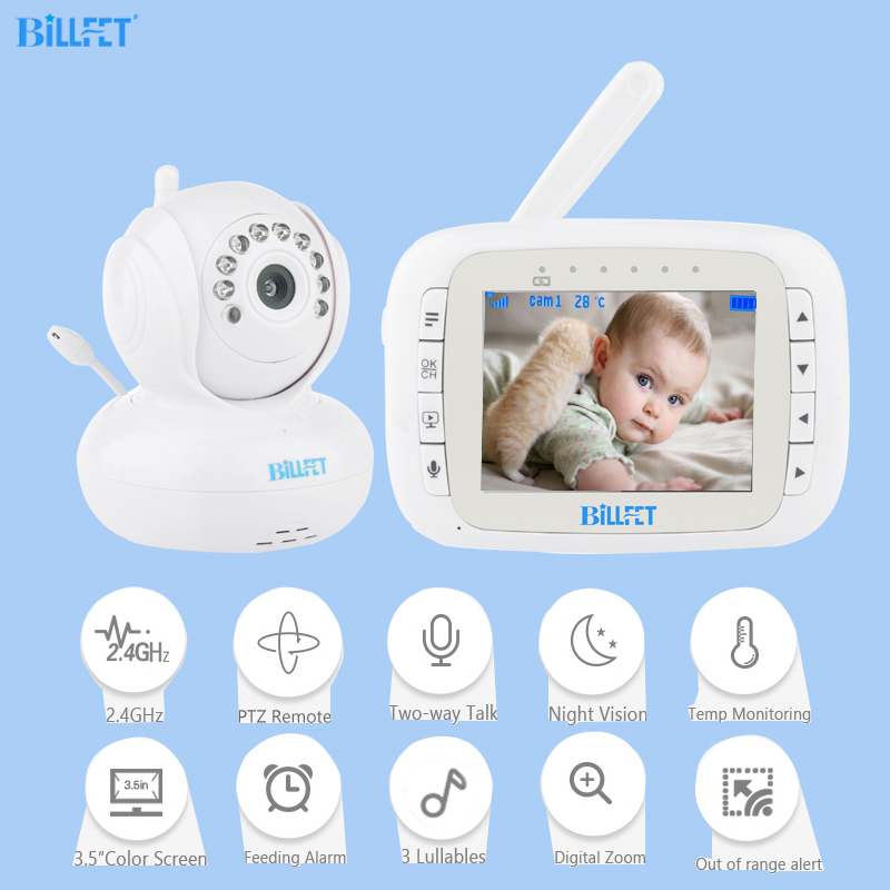 цена Wireless Video Baby Monitors 3.5inch PTZ Remote Rotate Baby lullaby electronic nurse Baby Monitor Nanny camara vigilancia bebe