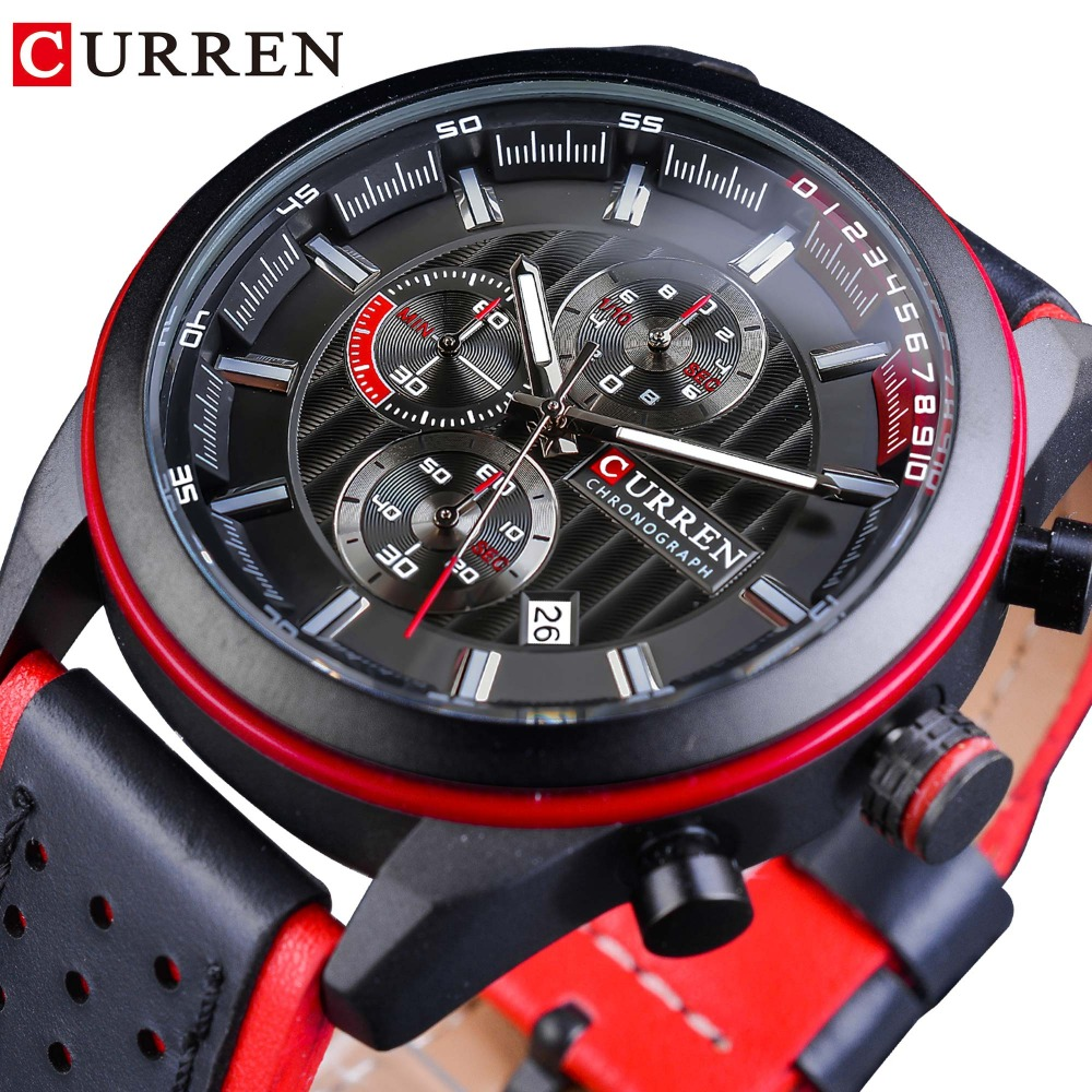 CURREN Red Sport Racing Genuine Leather Men Sport Military Watches Top Brand Luxury Waterproof Quartz Wrist Watch Montre Homme biden new design luxury men watches date genuine leather military quartz watch waterproof sport men wrist watch montre relojes