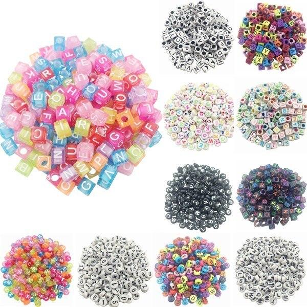100 pçs/lote Artesanal Quadrado Redondo Colorido Alfabeto/Letras de Acrílico Beads para DIY Pulseira, Colar de Presente