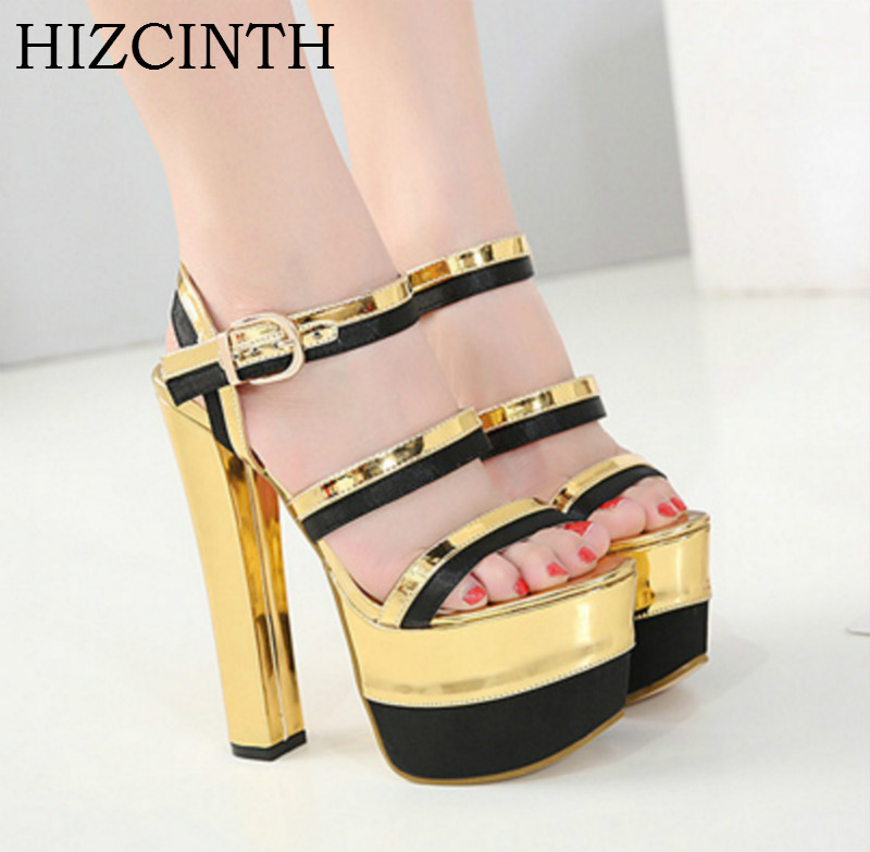 HIZCINTH 2018 Summer Platform Sandals Fashion Gold Color High Heels Sandals Gladiator Sandals Women's Shoes Pumps Sandalias phyanic 2017 gladiator sandals gold silver shoes woman summer platform wedges glitters creepers casual women shoes phy3323