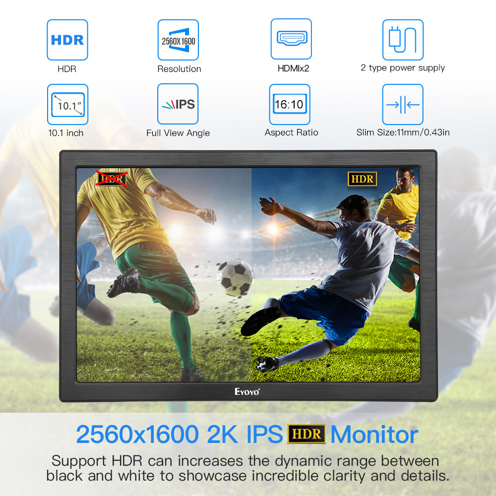 Moniteur de jeu HDMI Portable 10 pouces IPS écran LED lcd 2 k pour PC Portable Compatible parabla PS4 Xbox one PS4 Raspberry Pi USB - 2