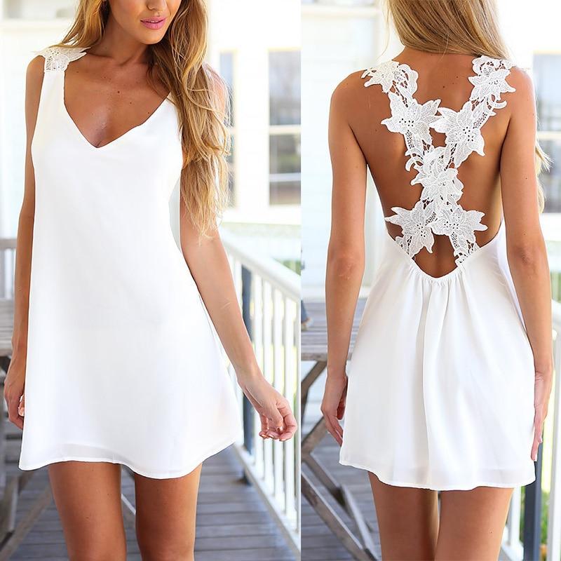 Seedrulia 2018 New Fashion Women Sexy Spaghetti Strap Lace Dress Sleeveless V-neck Summer Elegant Party Dresses Backless Female