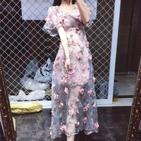 Elegant Pink Flower Floral Mesh Embroidery Dress Women's Vintage See Through Party Runway Dresses Gorgeous Sheer Vestidos