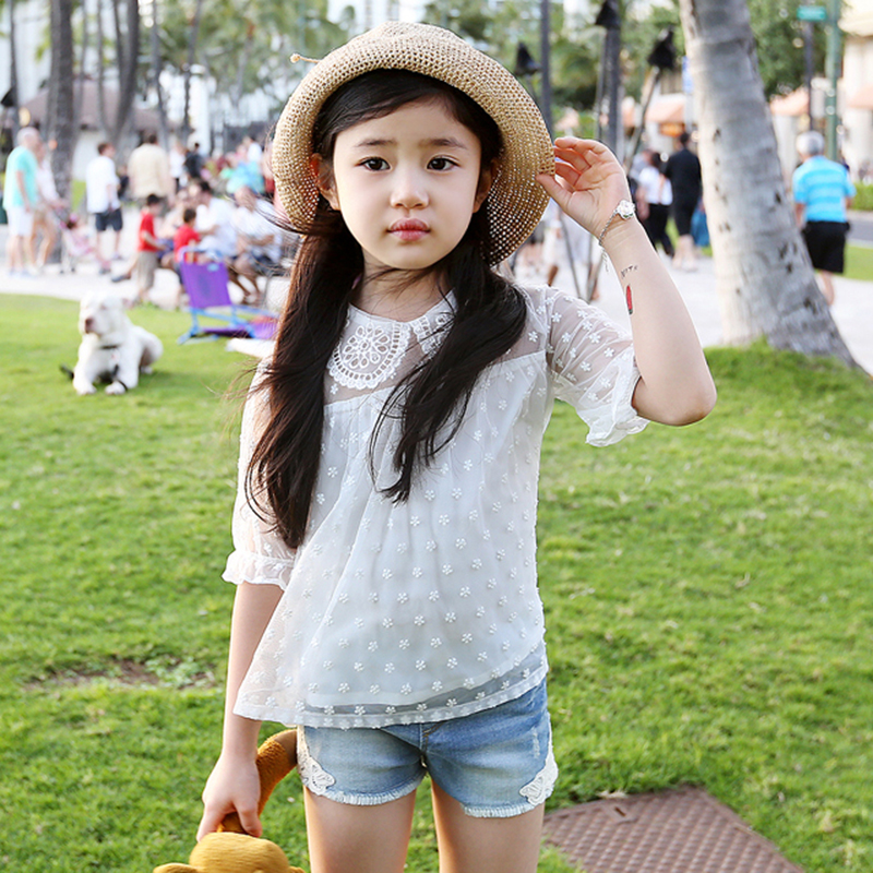 2018 summer new Korean children's clothing lace sleeve kids t-shirt cotton thin good quality girls dot blouse white shirt new 2017 cotton little girls shirt off the shoulder white t shirt kids top children clothes tolder clothing kids summer blouse