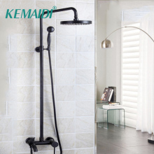 Bathroom Shower Set Oil Rubbed Bronze Wall Mounted Shower Faucet 8 Shower Head Mixer Tap Water Shower Set Waterfall Rain Faucet