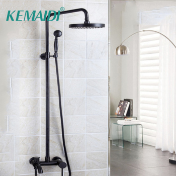 цена на Bathroom Shower Set Oil Rubbed Bronze Wall Mounted Shower Faucet 8 Shower Head Mixer Tap Water Shower Set Waterfall Rain Faucet