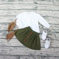 子供服セット女の子のスカート+スカートセット春秋リトル女の子服セット長袖ブラウスとスカートファッションの女の子o