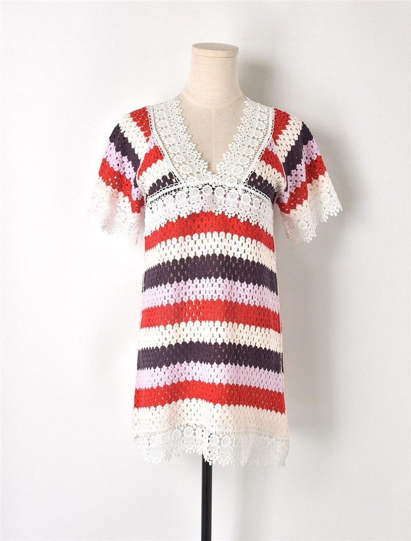 2018 été dentelle pétale couture Hit couleur Jacquard évider T-shirts manches courtes col en V soie coton T-shirts femmes Crochet hauts