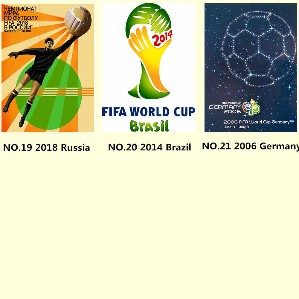 Full Set Of World Cup Posters Shabby Chic Vintage Kraft Paper Inkjet Printing Art Football Football Lovers Collection Gifts