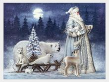 Santa Snow Scene White Animal Polar Bear Diamond Painting DIY Mosaic Full Square Embroidery Cross Stitch Christmas Decor