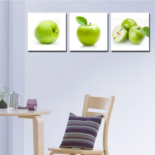 US $11.58 39% OFF|3 Piece Green Apple Kitchen Home Decoration Modern HD  Print Cupboard Decoration Wall Artwork Picture Home Decor Unframed-in  Painting ...