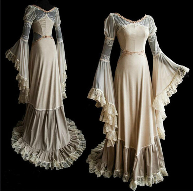 Drop Shipping  Lace Romantic Vintage Gothic Sexy  Corset Long Prom Party Ball Dress S-2XL