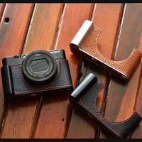 Genuine Cowhide Leather Half Body Case Base Camera bag cover For Sony RX100III RX100IV RX100V RX100V RX100M5 RX100 M6 M4 m3