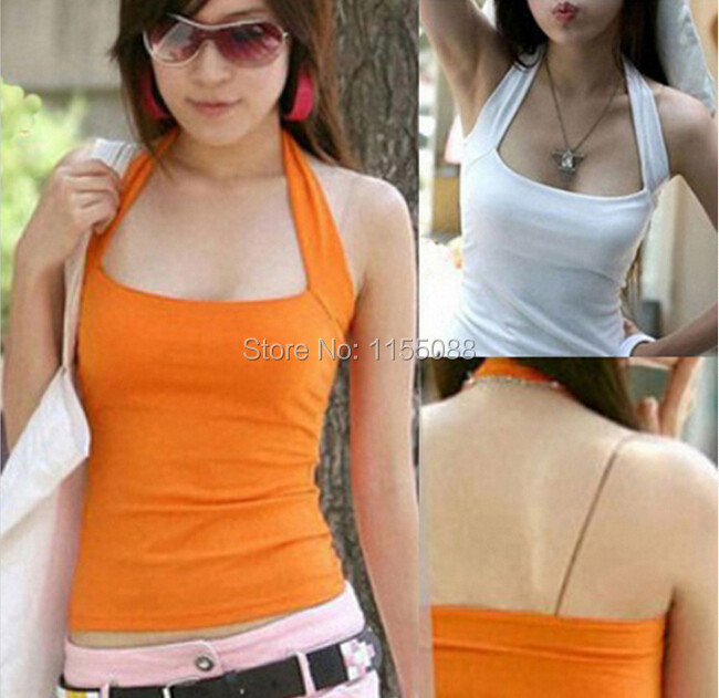 Women Vest Tops Sexy HALTER Cotton Summer Sleeveless Pullovers 3-Colors New Hot Slim