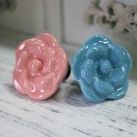 5PCS Blue Pink Ceramic Rose Shape Cabinet Knobs Kitchen Cupboard Dresser Drawer Handles Pulls 38 29MM