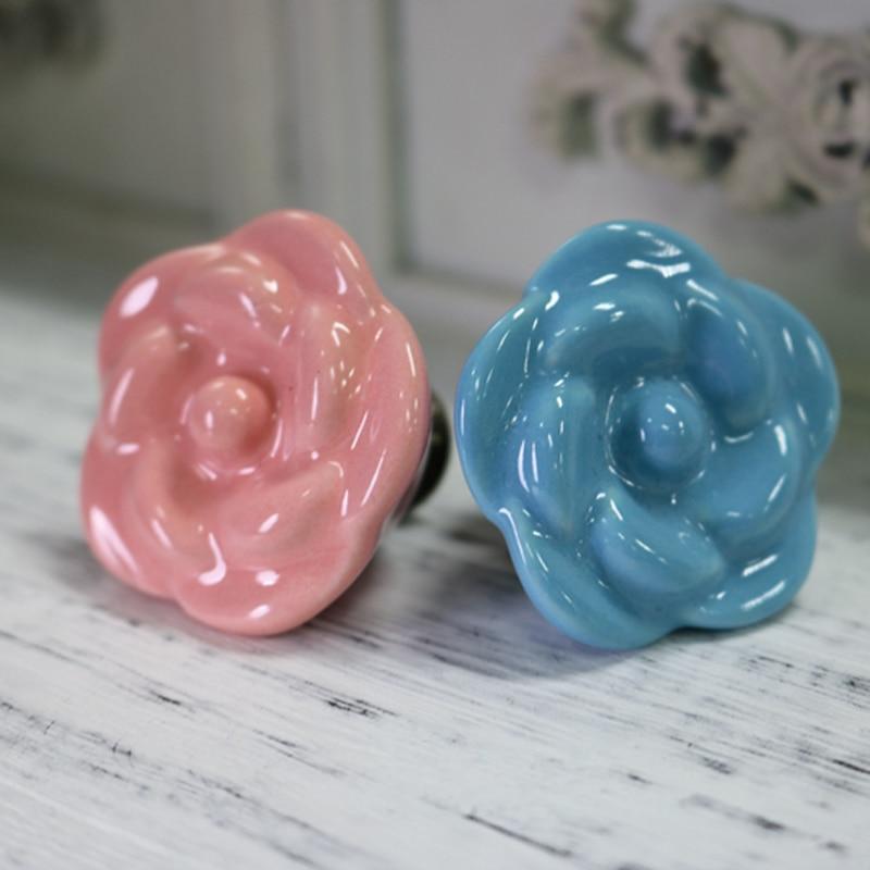5PCS Blue Pink Ceramic Rose Shape Cabinet Knobs Kitchen Cupboard Dresser Drawer Handles Pulls 38*29MM 38mm ceramic cupboard door knobs children room dresser drawer knobs blue white flower kitchen cabinets handles pulls