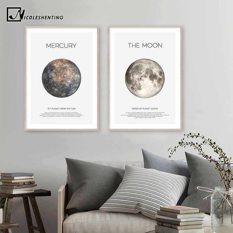 Solar System Picture Planet Earth Moon Mars Poster Astronomy Space Wall Art Canvas Print Painting Nordic Kids Room Decoration